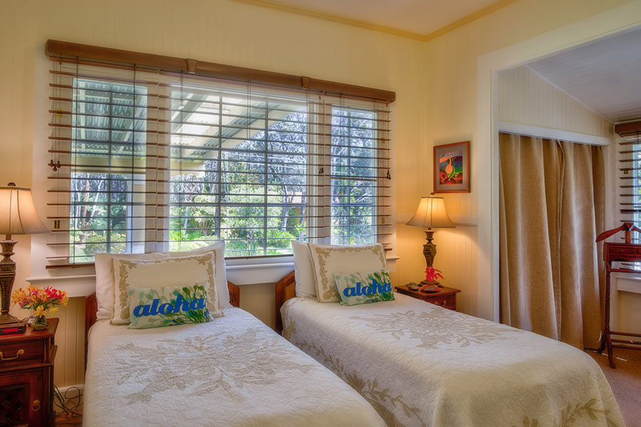 Ola'a Plantation House twin bedroom