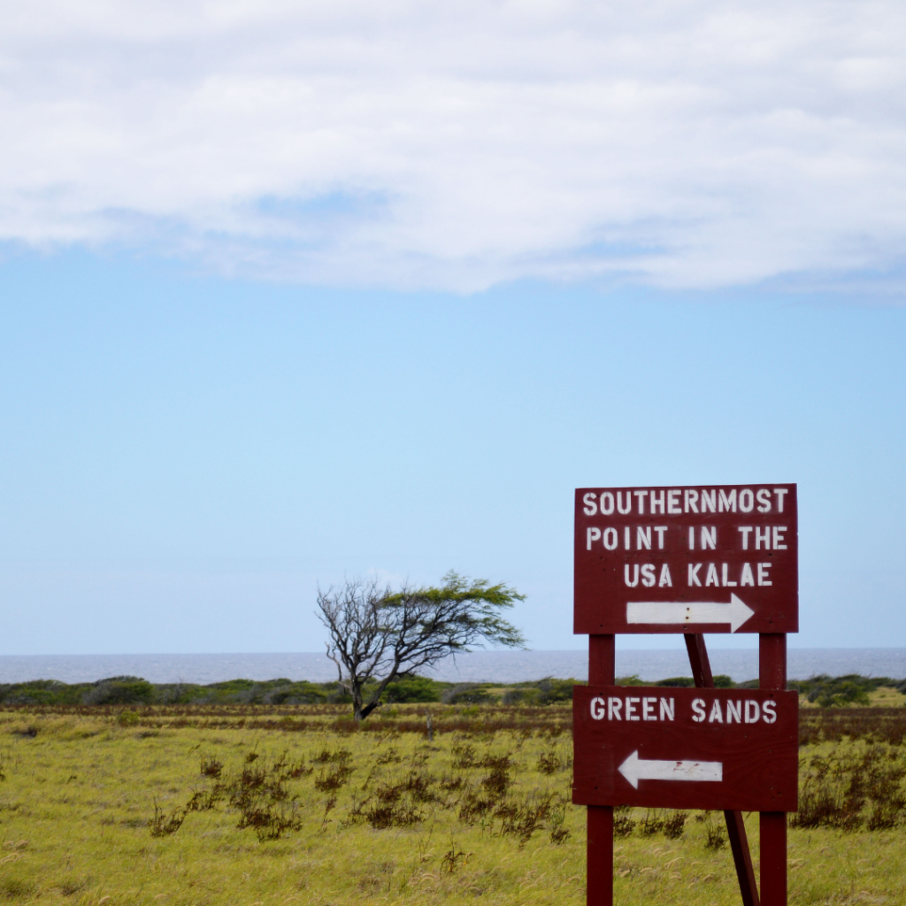 From the southernmost point in the USA, you can hike to the green sand of Papakōlea Beach on Hawaii Island